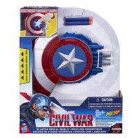 Wholesale 24sets Cosplay The Avengers Captain America Shield soft nerf bullet launcher toy deformation hidden gun kids child Costume party gift
