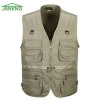 Wholesale 2016 Summer Men s Photographer Vest loose Multi Pockets Cheap pocket Vests Outdoor Shooting Hunting Waistcoat Vest Walking Travel Vest L XL