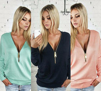 Wholesale Hot Sale New Fashion Women Clothing Sexy Women Tops Shirt Deep V neck Zipper Long Sleeve T shirt Bat Sleeve Women Sweater