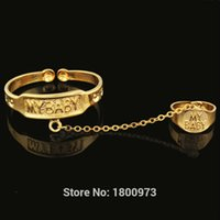 baby real gold bracelet - New Arrival BABY Bangles amp Bracelets For Kids K Real Gold Plated MY BABY For Kid Baby Lovely Jewelry With Ring