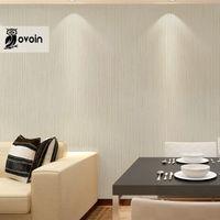 beige stripe wallpaper - Modern Minimalist Plain Design Solid Color Light Cream Beige Vertical Stripes Print Background Wallpaper non woven wall paper