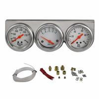 auto oil temperature gauges - Chrome inch MM Triple Volt meter water temp gauge Oil press Pressure Gauge Volts meter Water Temperature auto Gauge YC100816