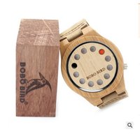 big bird watch - BOBO BIRD Punk style Mens Watches Top Brand Luxury Antique Bamboo Wooden Holes Quartz Watches With big Real Leather Straps
