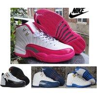 Wholesale Womens Nike Jordan Retro XII White Pink Basketball Shoes Original Quality Brand New Boys AJ12 Dan French Blue Sneakers J12s With Box