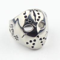 african masks - Halloween Jason Mask Hockey L Stainless Steel Mens Biker Ring