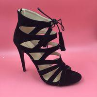 alto black - US Size Gladiator Style Dress Shoes Women Pumps Open Toe Stilettos Heels Custom Color OL Pump Shoes Salto Alto Feminino Sandal