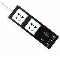 Usb port power surtension France-Chargeur de batterie intelligent Power Strip Smart 2 Outlet 4 ports USB Protecteur de surtension de sortie rapide Adaptateur de voyage de recharge avec cordon de 4,9 pieds