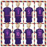 barcelona soccer kids kit - Uniforms Kit Youth Kids soccer Jersey Barcelona Suarez Messi Neymar JR Gomes Umtiti Purple Away Jerseys