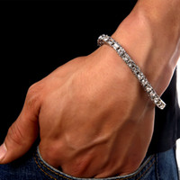 Wholesale hiphop silver bracelets bangles for men jewelry pulseira masculina crystal unisex women pulseras hombre mujer bileklik femme