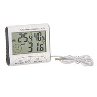 Wholesale Temperature Humidity LCD Digital Thermometer Hygrometer Meter w Wired External Sensor DC103 With Retail Package Free DHL