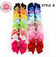Wholesale 14 STYLE available inch Grosgrain Ribbon Hair Bows WITH Clip Baby Girl elastic headband Pinwheel Hair Bows Hair Pins Accessories