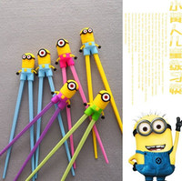 Wholesale cheap Cute2pairs Minions Kids training Helper Learning Fun Gift Toy Cheater Chopsticks