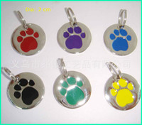Wholesale Round paw pet dog ID tag label disc dog or cat free engraved mark