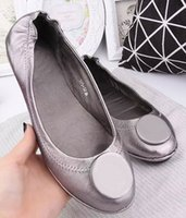 Wholesale Famous Brand Designer Metal Buckle Sheepskin Genuine Leather Ballet Flats Casual Loafers Lady Women Shoes Sz