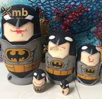 animated christmas decor - Batman Superhero Animated Comic Cartoon Movie Matryoshka Wooden Stacking Dolls For Home Decor Christmas Gift