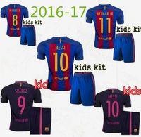 barcelona boy - Thailand Quality children Barcelona team kids jersey Home Away Jersey Camiseta Deneimaer JR Messi Suarez A Iniesta