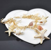 artificial starfish - racelet collection Min order is mix order Artificial Pearl Sea Starfish Conch Shell Bracelet Bangles For Women Girls Sea Jewelry Chai