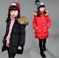 Wholesale 2016 Winter Christmas thickening coat CM really fur collar children warm long style cotton padded clothes Princess down jacket E545