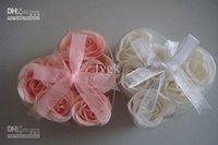 Wholesale 180pcs soap flower heart shape handmade rose petals rose flower paper soap mix color box