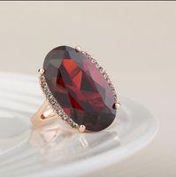 Wholesale Fashion Women Wedding Ring Diamond Crystal Fashion Ring Rose Gold Plated Cubic Zircon Big Rings High Quality