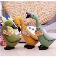 Wholesale 3pcs wooden rural countryside cute duck ducks painted ornaments creative gifts mixed batch C0634