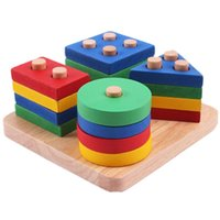 Wholesale Baby Toys Montessori Wooden Geometric Sorting Board Blocks Kids Educational Toys Building Blocks Child Gift