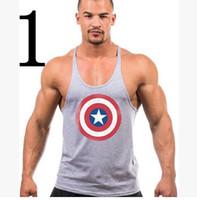 america vest - 2016 New Summer Captain America Sports Singlets Mens Tank Top TShirt Stringer Bodybuilding Golds Gym Cotton Sports Vest js
