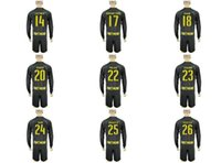 Wholesale NEW Uniforms Kit Soccer Jersey Borussia Dortmund Reus Aubameyang SCHURRLE GOTZE Away Black Long Sleeve Jerseys