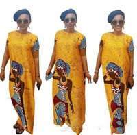 Casual Dresses africa prints - Fashion Yellow Dashiki Dress African Woman Print Short Sleeve Outfit Hot Sale Vintage Africa Women Party Bandage Dresses