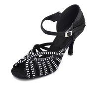 Wholesale Black satin and diamond elegant woman Latin ballroom dance shoes heel can be custom high quality cmfortable sole shoes ED064