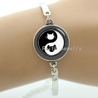 art ideas - Yin yang cat dog picture bracelet simple style of yin yang cat dog silhouette art picture new idea design handmade jewelry