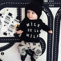 american nuts - INS Hot Baby Girls Boys Outfits Set Spring Autumn Sets Cotton Tops Long Sleeve T Shirts Pine nuts Pants Kids Clothes piece sets