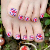 artificial toe nail - Summer Design fake nails Pre Design false nail tips full cover toe nails artificial x24Pcs foot nail tips decor decals home use nail