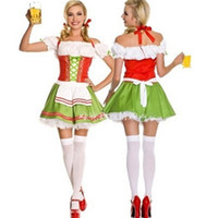 adult bear costumes - High Quality Green Polyester Women Oktoberfest Costume Adult Ladies Sexy Bear girl Cosplay Maid Red Party Halloween Costume