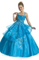 beads pattern for gown - Newest Preteen and teen beaded floral patterns organza ocean blue ball gown country national pageant dresses for girls size