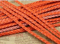 beading wire free shipping - Free Ship Meters Orange Flat Braided Leather Cord String Rope Jewelry Beading String For Bracelet Necklace mm Wide