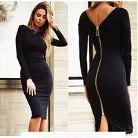 Wholesale 2016 New Trend Pencil Sexy Back Zipper Long Sleeve Work Dress Knee Length Women Dress Summer dresses Party Dress