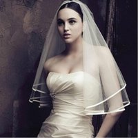 american meter - 2016 Cheap Elbow Bridal Veil Wedding Dress Gown White Ivory American Tulle One Layer Without Comb Meters Ribbon Satin In Stock