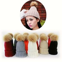 active snow - Designer Womens Plain Knitted Beanies Pom Winter Warmer Hats For Ladies Crochet Faux Raccoon Rabbit Fur Ball Slouchy Snow Cap Solid Color