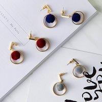 amber velvet - Brand New Little round ball pendant earrings Contracted design velvet Japan And South Korea Fashion Temperament Earring