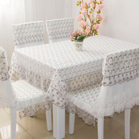 Wholesale 1 Piece Contracted Fabric Lace Dinner Table Cloth Romantic Lace Tablecloth Table Cloth The Tablecloth Chair Cover