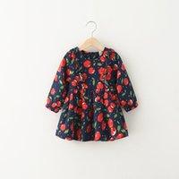 Cheap 2016 Baby Girls fruit Print Dresses Kids Girl autumn Cotton Ruffle Dress Girls long sleeve Dress tops Children's Clothing A9507