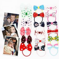 adorable hair styles - 24 styles Sweet Solid Print Bow Elastic Hair ropes Kids Hair ties Adorable Ponytail Holder Hair Accessories