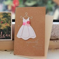 baby shower greeting cards - Baby girl shower invitation cards kraft paper princess dress greeting cards event party supplies