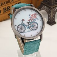 bicycle shocks - New Fashion Women Girls Kids Bike Watches Vine Wristwatch Canvas Fabric Strap Bicycle Pattern Quartz Cartoon Watch gift Clock