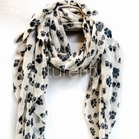 Cheap 2016 New Animal Paw Prints Off White Spring & Summer Autumn Scarf Gift For Her Womens Scarves 10pcs lot free shipping