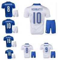Cheap 2016 Italy Jerseys sports kits soccer Jersey 2016 PIRLO El Shaarawy Balotelli Verratti MARCHISIO national team football shirt+short