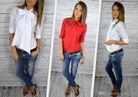 Cheap 2016 New Pattern Ma'am Bow Women Chiffon Shirt European Best Sellers Ladies Lace Tops Printing Tank Plus Size Dudalina Blouses