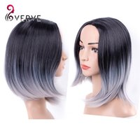 Wholesale ombre synthetic wigs cheap short silver grey wigs synthetic sexy female short haircut wigs natural looking women wigs cosplay