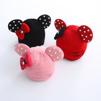 Wholesale Kids Caps Cute Cartoon Mickey Hats New Autumn Winter Warm Knitting Pearls Bow Hats ER